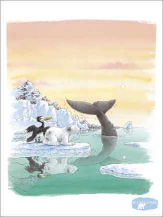 Premium poster  The little polar bear Lars and the big whale