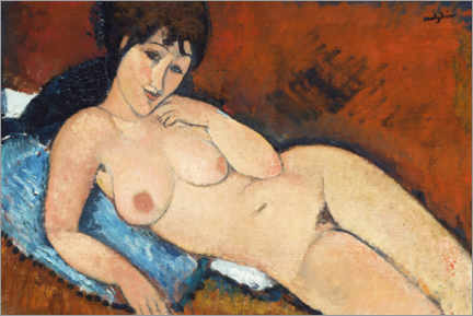 Premium poster Nude on a blue pillow