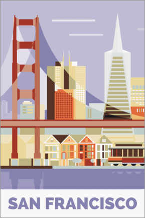 Hout print  golden gate bridge - Nigel Sandor