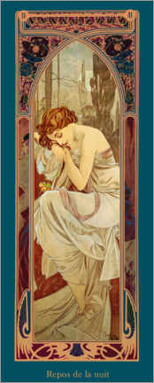 Premium poster  Times of the Day - Night's Rest - Alfons Mucha