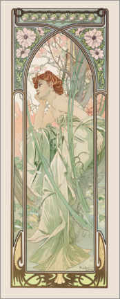 Acrylglas print  Times of the Day - Evening Contemplation - Alfons Mucha