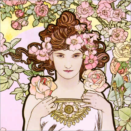 Hout print  The rose, detail - Alfons Mucha