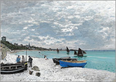 Muursticker  The Beach at Sainte-Adresse - Claude Monet