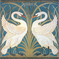 Muursticker  Swan, Rush and Iris - Walter Crane