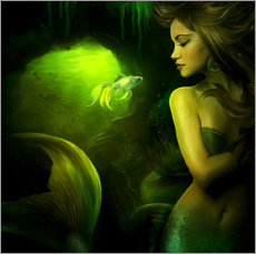 Muursticker  The mermaid - Elena Dudina