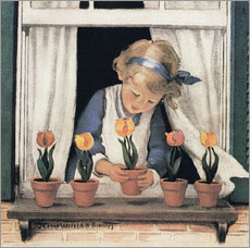 Gallery print  Potting tulips - Jessie Willcox Smith