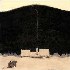 Muursticker  The house at the foot of the mountain - John Bauer