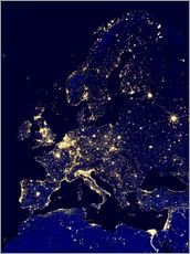 Muursticker  Europe at night - NASA
