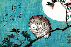 Muursticker  Small Horned Owl on Maple Branch under Full Moon - Utagawa Hiroshige