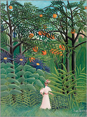 Muursticker  Woman in an exotic forest - Henri Rousseau