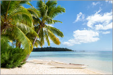 Muursticker  Beach with palm trees and turquoise ocean in Tahiti - Jan Christopher Becke