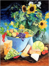 Muursticker  Still life with sunflowers, fruits and cheese - Gerhard Kraus