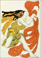 Muursticker  Costume design for a bacchante in 'Narcisse' by Tcherepnin - Leon Nikolajewitsch Bakst