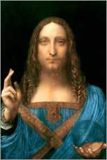 Hout print  Salvator Mundi - Leonardo da Vinci