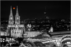 Muursticker  Blutmond over the Cologne Cathedral - rclassen