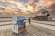 Muursticker  In the morning the North Sea beach of Sankt Peter Ording - Dennis Stracke