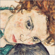 Muursticker  Seated woman with bent knee, detail - Egon Schiele