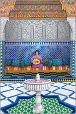 Muursticker  Guitar playing woman in the temple - Larry Smart