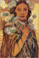 Muursticker  Native American woman with flowers and feathers - Alfons Mucha