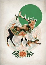 Gallery print  Stag, bird and hare - Mandy Reinmuth