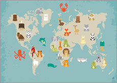 Gallery print  World map with animals - Petit Griffin