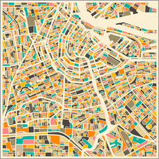 Muursticker  Amsterdam map colorful - Jazzberry Blue