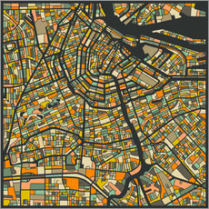 Gallery print  Amsterdam Map - Jazzberry Blue