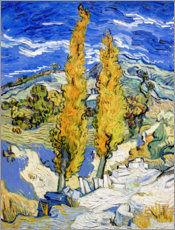 Hout print  Two Poplars on a Hill - Vincent van Gogh