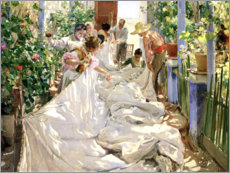Hout print  Sewing the sail - Joaquin Sorolla y Bastida