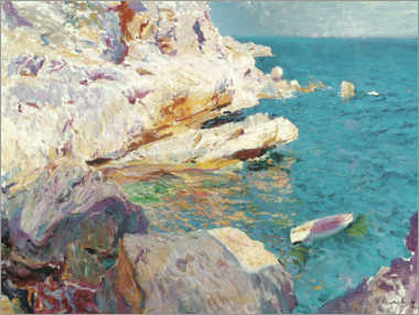 Premium poster Rocks of Jávea and the white boat