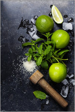 Muursticker  Mojitos (ice cubes, mint, sugar and lime)