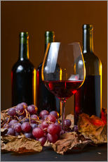 Gallery print  red wine with grapes and vine leaves