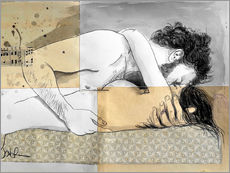 Gallery print  lovers on a patterned mattress - Loui Jover