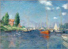 Muursticker  Red boats at Argenteuil - Claude Monet