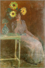 Muursticker  Sedentary woman next to a vase with sunflowers - Claude Monet