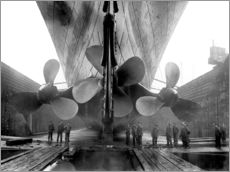 Muursticker  Shipyard workers with the Titanic - John Parrot