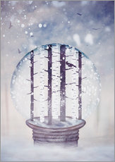 Gallery print  Snowglobe with birch trees and raven - Sybille Sterk