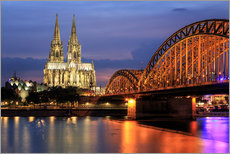 Muursticker  Cologne Cathedral and Hohenzollern Bridge at night - Oliver Henze