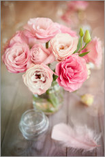 Muursticker  Romantic rose bouquet with feather