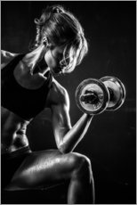 Muursticker  Sportswoman with dumbbell
