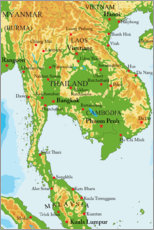Acrylglas print  Map of Thailand