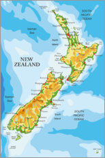Aluminium print  New Zealand - Map