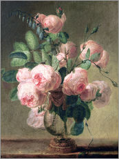 Muursticker  Vase of flowers - Pierre Joseph Redouté
