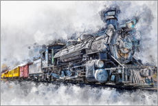 Muursticker  Steam locomotive Durango and Silverton Narrow Gauge Railroad - Colorado - USA - Peter Roder