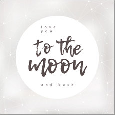 Muursticker  Love you (to the moon and back) - Typobox