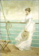Muursticker Lady on the Deck of a Ship