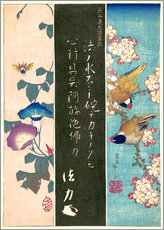 Muursticker  Bird and Flower - Katsushika Hokusai
