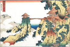Muursticker  The Hanging-cloud bridge at Mount Gyodo, Ashikaga - Katsushika Hokusai