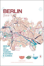 Muursticker  Berlin city motif map - campus graphics