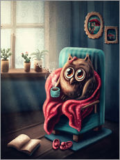 Gallery print  Owl with a cup of coffee - Elena Schweitzer
